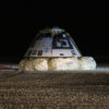 The Boeing CST-100 Starliner spacecraft is seen after it landed in White Sands, New Mexico, Sunday, Dec. 22, 2019. The landing completes an abbreviated Orbital Flight Test for the company that still meets several mission objectives for NASA's Commercial Crew program. The Starliner spacecraft launched on a United Launch Alliance Atlas V rocket at 6:36 a.m. Friday, Dec. 20 from Space Launch Complex 41 at Cape Canaveral Air Force Station in Florida. Photo Credit: (NASA/Bill Ingalls)